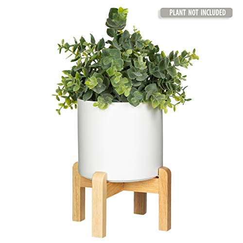 Mid Century Modern Plant Stand The Northern Habitat Wood Table Top Planter with 4.5 Inch Round Pot - Indoor Matte White Ceramic Pot and Bamboo Pot Holder for Plants - Succulent Pots and Wooden Stands