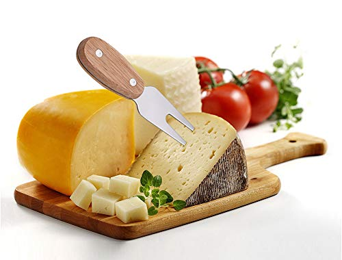 Binboll 4 Pieces Set Steel Stainless Cheese Slicer Cheese Cutter Cheese Knives with Wood Handle (Style 3)