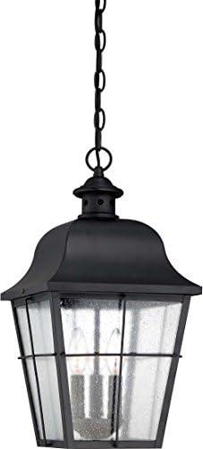 Quoizel MHE1910K Millhouse Seedy Glass Outdoor Pendant Ceiling Lighting, 3-Light, 180 Watts, Mystic Black 19 H x 10 W