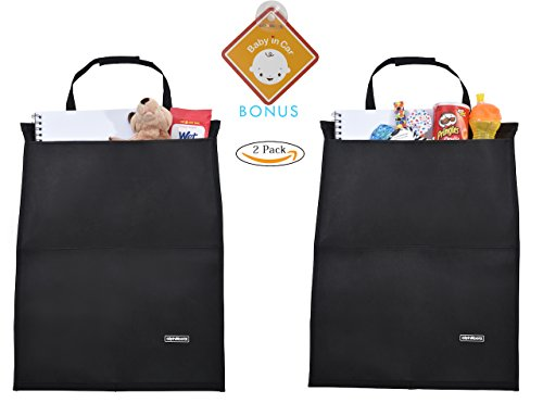 Alphabetz 2-Piece Kick Mats Car Seat Protectors with Storage Pocket and Baby-in-Car Sign, Black