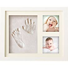 MyMiniJoy Newborn Baby Hand and Footprint Picture Frame Kit Keepsake for Boys and Girls, Memorable and Unique Baby Shower Gift Idea for Registry, Personailzed Table and Wall Decoration, Non Toxic Clay