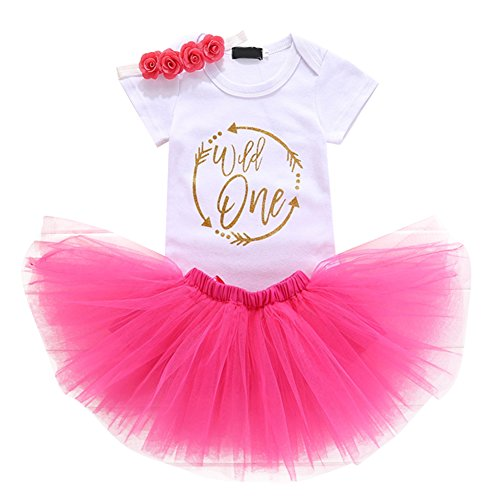 Baby Girls 1st Birthday Cake Smash 3pcs Outfits Set Cotton Romper Bodysuit+Tutu Dress+Flower Headband Princess Skirt Clothes Hot Pink Arrow Wild one One Size