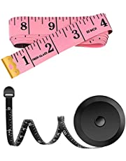 HOME-MART 2 Pack Soft Tape Measure Measuring Tape for Body Fabric Sewing Tailor Cloth Knitting Craft Measurements, 60-Inch Soft Fashion Pink & Retractable Black Tape Measure Body Measuring Tape Set