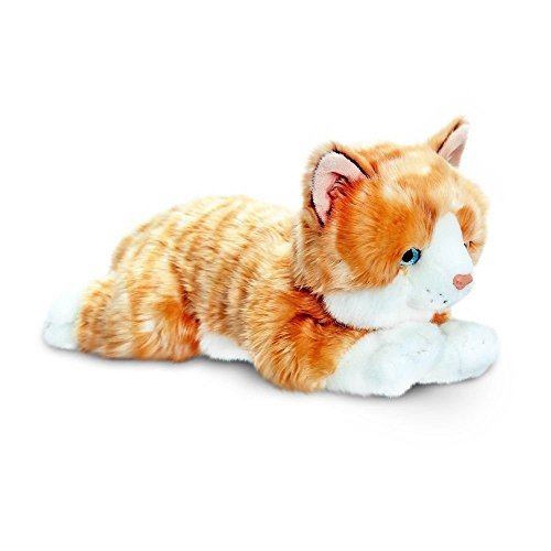 30cm Amber Ginger Cat Soft Toy - Keel Toys Laying '' The Kitten Plush Cuddly by unbrand