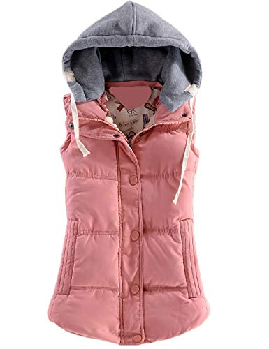 (Yeokou Women's Slim Sleeveless Quilted Removable Hooded Winter Puffer Vest Coat (Small, Pink001))