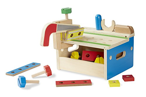 Melissa & Doug Hammer and Saw Tool Bench – Wooden Building Set (32 pcs)