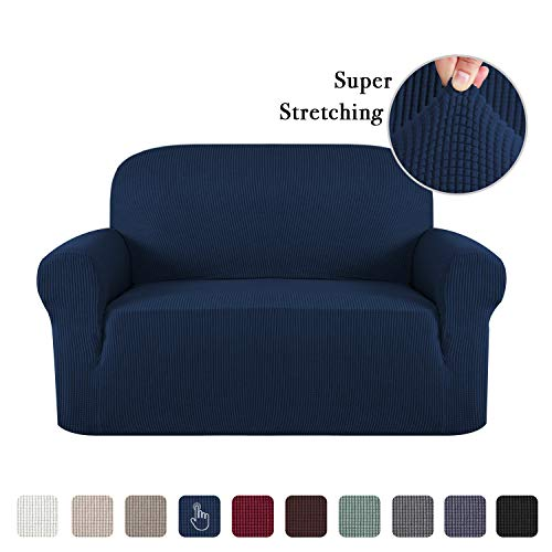 Stretch Sofa Slipcover 1 Piece Sofa Covers for 2 Cushion Couch Sofa Slipcover Skid Resistant Sofa Cover for Loveseat Lounge Cover Indoor for Leather Couch, Form Fitted Jacquard - Navy