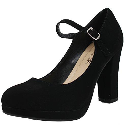 - City Classified Women's Closed Toe Mary Jane Chunky Heel Pump (Black Nbpu, 6 B(M) US)