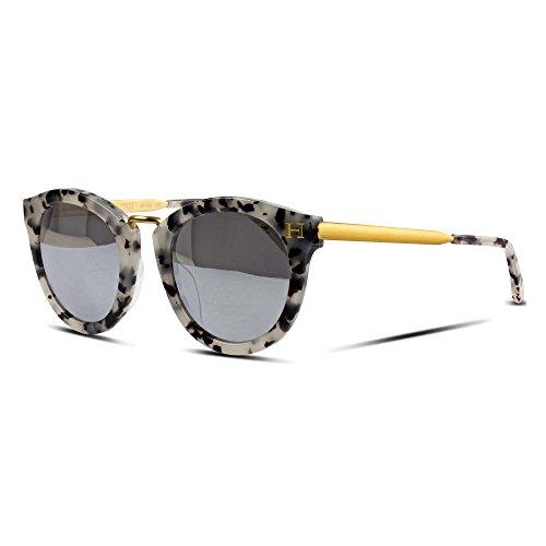 Orange Hudson Sunglasses Classic Crystal Tortoise Acetate Frame with Matte Gold Metal Legs, Silver Mirror Lenses 100% UV Block - Taipei - Acetate Tortoise