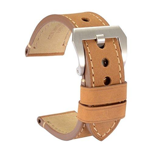 WOCCI Watch Bands 24mm Soft Vintage Light Brown Crazy Horse Leather Wristwatch Strap Belt for Men
