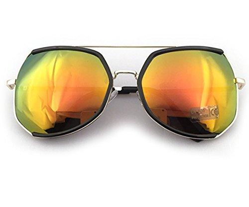 Heartisan Oversized Polygon Frame Color Reflective Lens Vintage Sunglasses - Kardashian Wears Kim Black Sunglasses