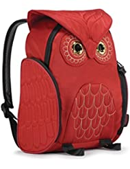 Darlings Owl Padded Straps Quilted Daypack/Backpack - Medium - Red