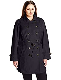 Women's Plus-Size Double Breasted Trench Coat