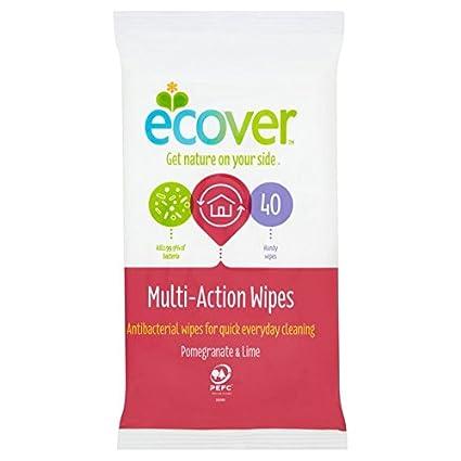 Ecover Toallitas antibacterianas multiacción, pack de 40unidades