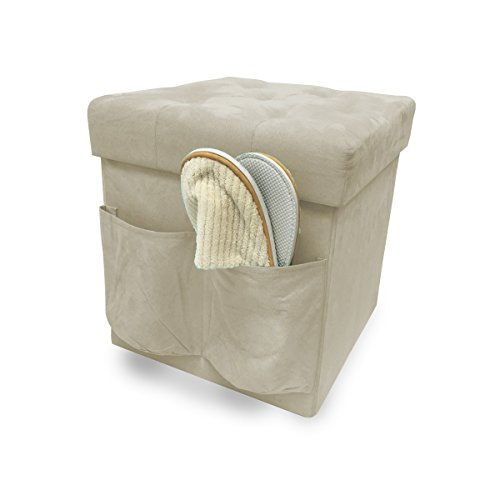 Faux Suede Storage Cube Foldable (Beige) Review