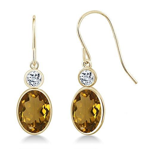 Gem Stone King 2.58 Ct Oval Whiskey Quartz White Topaz 14K Yellow Gold Earrings