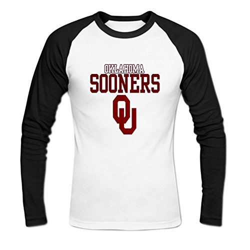 (Mens NCAA Oklahoma Sooners OU OKC Teams Logo Baseball T-Shirt XXL White)