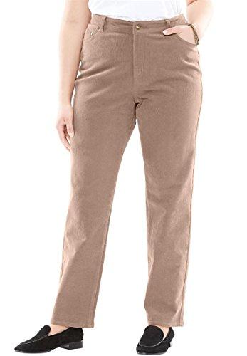 Pants Corduroy Wale 14 (Woman Within Plus Size Corduroy Straight Leg Stretch Pant - Almond Taupe, 14 W)