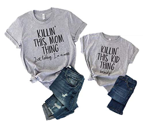 Mother and Me Short Sleeves Letters T-Shirt Mommy and Daughter Matching Shirts (Grey (Mother), XL) ()