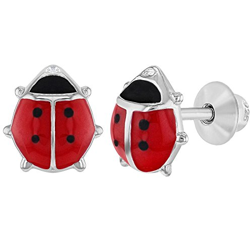 925 Sterling Silver Ladybug Earrings Red Enamel Screw Back Earrings -