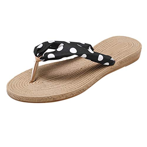 Sherostore ♡ Women's Floral Summer Satin Wedge Flip Flops Colorful Printing Sandals Fashion Beach Slippers ()