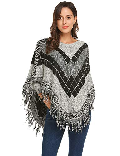 Women's Batwing Tassels Cloak Sleeves Soft Poncho Airy Cardigan Striped Amice Wrap Tippet Robe Plus Size