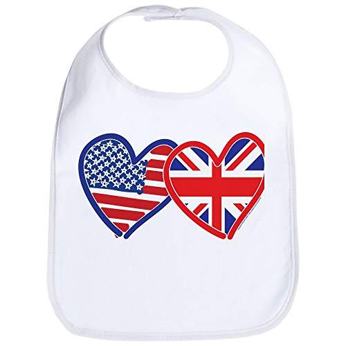 Heart Flag Bib - CafePress American Flag/Union Jack Flag Hearts Bib Cute Cloth Baby Bib, Toddler Bib