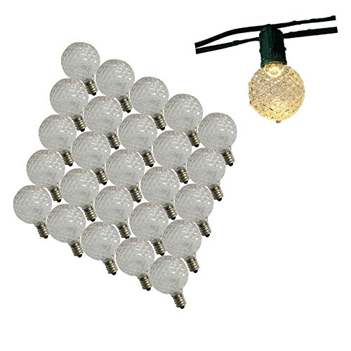 25pcs LED G40 Replacement Christmas Bulb Warm White Holiday Recplacement Bulb Light UL Listed Fits into E12 Sockets Traditional Strings Replacement Bulb