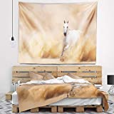 Designart TAP6469-60-50 'Arabian Horse in Desert Storm' Photography Tapestry Blanket Décor Wall Art for Home and Office, Large: 60'' x 50'', Created on Lightweight Polyester Fabric