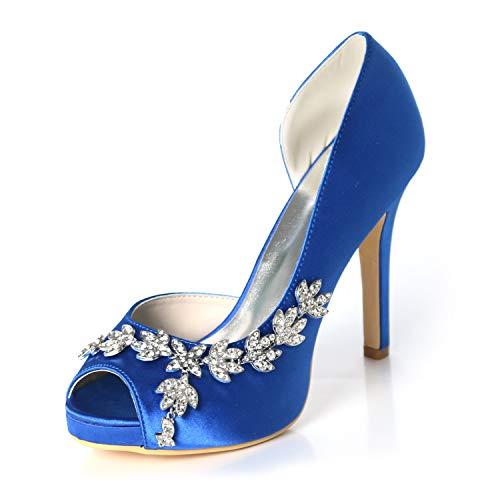 LLBubble Women High Heels Platform Peep Toe Wedding Shoes Satin Bridal Pumps Formal Party Dress Shoes-Royal Blue 1-10.5 ()