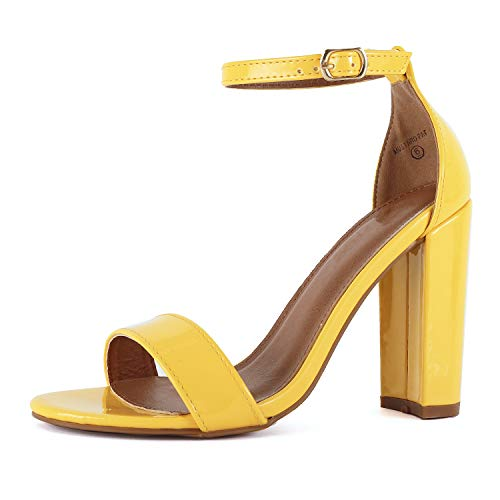 Womens Comfort Open Toe Ankle Strap Chunky Block High Heel - Sexy Dress Formal Party Sandal (7.5 M US, Yellow Pat)