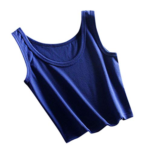 TIFENNY Women's Sleeveless T-Shirt Tank Summer Short Cami Vest Crop Tops Blouse Casual Solid Color Beach Tank Blue