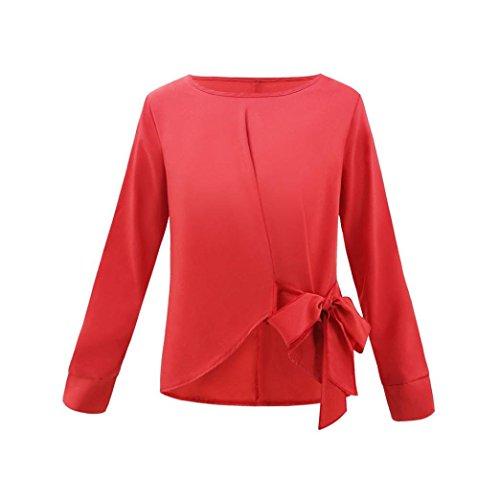 lache MuSheng Cravate Femmes Rouge Manches Dames dcontract Arc Chemise Shirt T Longues Tops Blouse OL wwqzgS