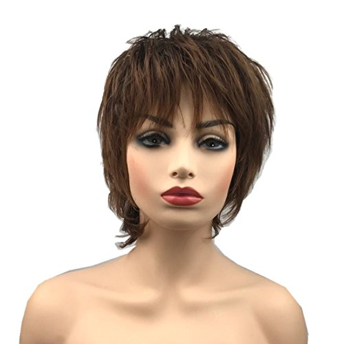 Natural Short Brown Wig Silky Waves Wispy Bangs Short Curly Shag Custom Fit Cap Sassy Curls Daily Wig Short Short Natural Pixie Cut Tapered Edges Healthy Custome Fit Avg Cap