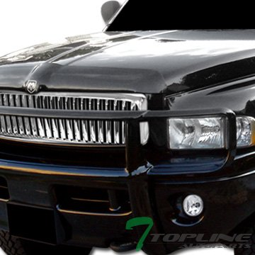 Topline Autopart Chrome Vertical Front Hood Bumper Grill Grille ABS For 94-01 Dodge Ram 1500 ; 94-02 (Chrome Vertical Hood)