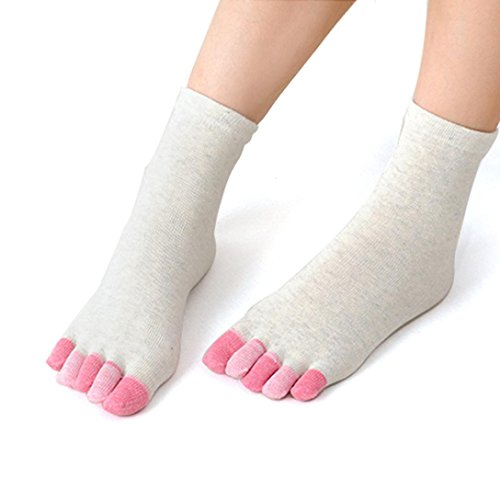 (Fashion Womens Cotton Colorful Thin Yoga Gym Non Slip Massage Toe Socks Full Grip With Socks Heel (White, Free Size))