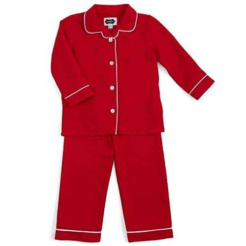 Mud Pie Unisex Baby Red Two-Piece Flannel Pajamas Red with White Piping Trim, Lg ()