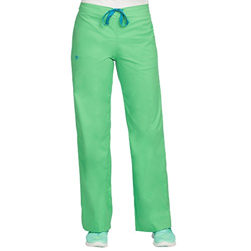 (Med Couture Drawstring Signature Scrub Pants for Women, Shamrock/Bali Blue, X-Large Petite)
