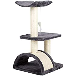 CO-Z 3-Level Purplish Grey Lint-Covered Cat Tree Chipboard Construction with Hemp-Rope-Wrapped Scratching Post and Dome Hideaway