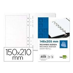 RECAMBIO AGENDA ANILLAS LIDERPAPEL PERPETUO 15X21 CM: Amazon ...