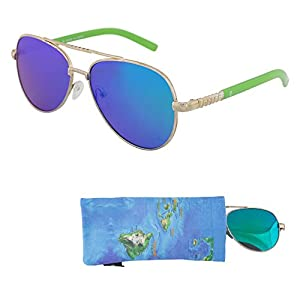 REVO Sunglasses for Teens – Stylish Green Mirrored Lenses for Teenagers - Reduces Glare, 100% UV Protection - Gold Frame, Green Tips - Matching Pouch - Ages 12 to 18 - By Optix 55