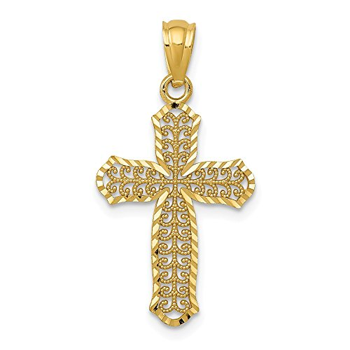 (14k Yellow Gold Filigree Cross Religious Pendant Charm Necklace Fleur De Lis Fine Jewelry Gifts For Women For Her)