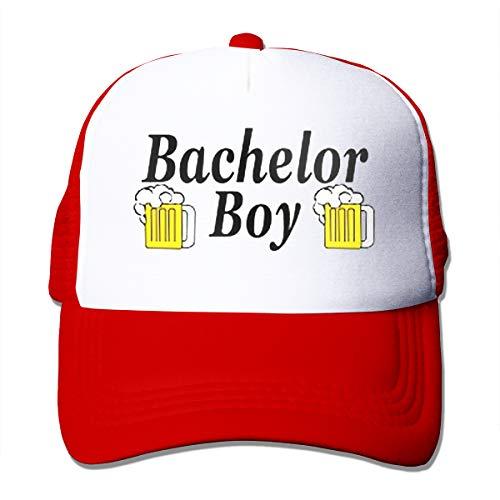 Waldeal Bachelor Boy Party Groom Hat Curved Brim Cap,Adjustable Fits Men Unconstructed Dad Hat Red