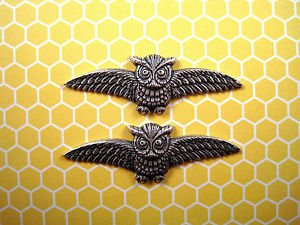 Oxidized Sterling Silver Owl Stampings (2) - SOFFA14201