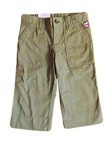 Carters Toddler Girls Capris With Embroidered Butterfly - Khaki Green (2T, khaki - Khaki Pants Girls Embroidered