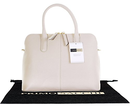 Italian Textured Cream Leather Hand Made Bowling Style Tote Grab Bag or Shoulder Bag. Includes a Branded Protective Storage Bag