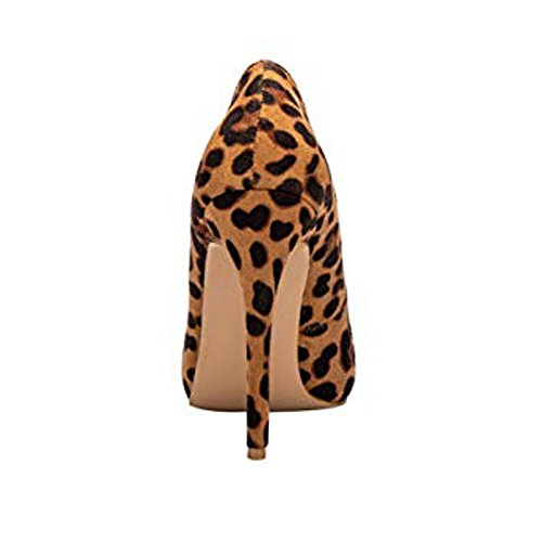 Sculptured Toe High Heel Stiletto Women's Pointy Pump Cut Olivia Jaymes Shoes Curved Leopard And Low q4ztxnX