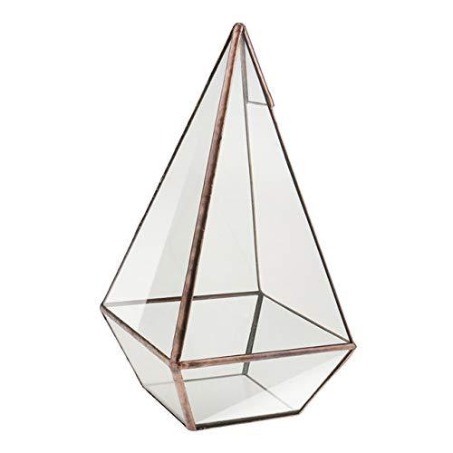 Wood Planter Box - New Handmade Bonsai Pyramid Glass Terrarium Box Tabletop Succulent Planter Copper Flower Pot Home Garden Decoration (Pyramid Planter Wood)