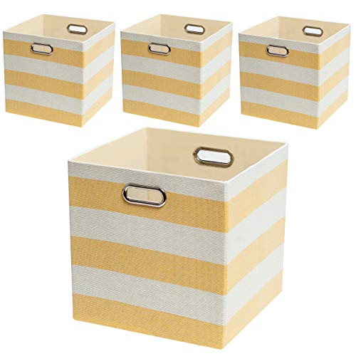 Posprica Collapsible Storage Cube Bins,13×13 Storage Boxes Basket Containers Fabric Drawers for Nurseries,Offices,Closets,Home Décor- 4pcs, Yellow ()