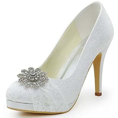 ElegantPark HC1413P Women Pumps Closed Toe Platform High Heel Buckle Lace Wedding Bridal Shoes White US 6